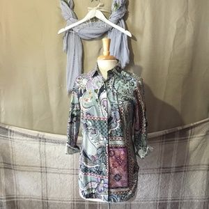 PAPER WHITE PAISLEY PATCHWORK PRINT BUTTON UP